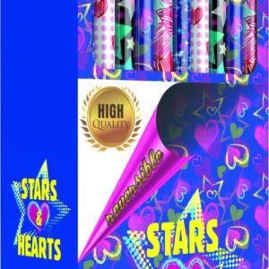 PAPEL REGALO DOBLE CARA ALTA CALIDAD COLECCION STARS & HARTS